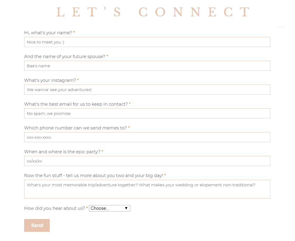 Example of website with contact form