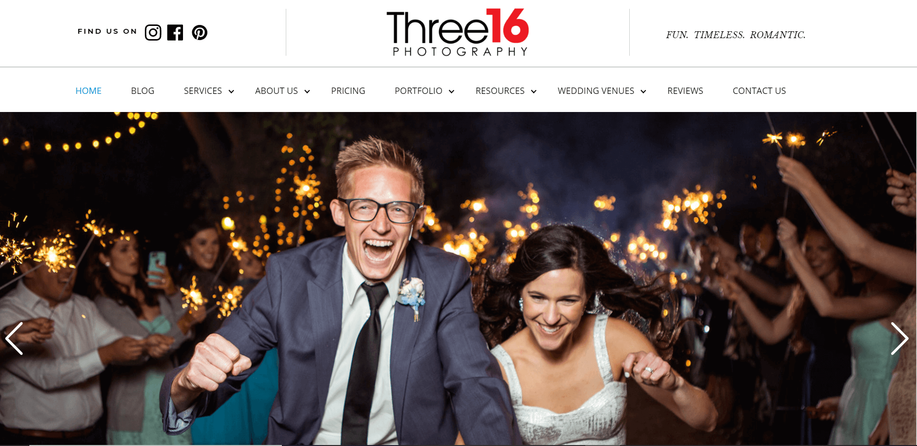 Example of website with happy wedding couple